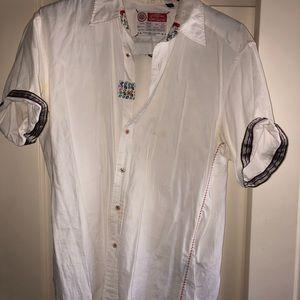Robert Graham white short sleeve button up shirt